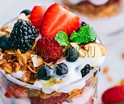 Фрукты йогурт.